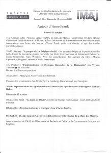 Anne Frank Rencontre au Théâtre des Martyrs Programme 11 10 20
