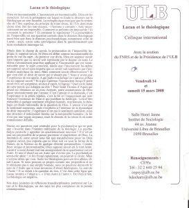 Lacan et le théologique Colloque 14 et 15 mars 2008