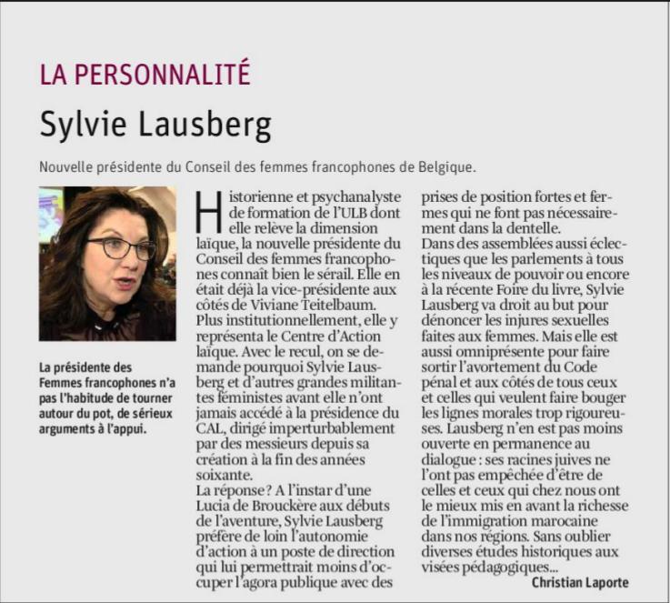 Présentation parue dans la libre Belgique du 1 mars 2018